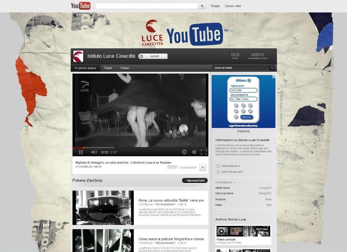 istituto luce Su Youtube larchivio dellIstituto Luce